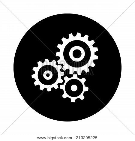 Cogwheel gear mechanism circle icon. Black round minimalist icon isolated on white background. Mechanism simple silhouette. Web site page and mobile app design vector element.