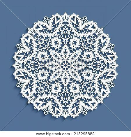 Bobbin lace doily, vector mandala circle ornament, round crochet pattern, ornate snowflake decoration poster
