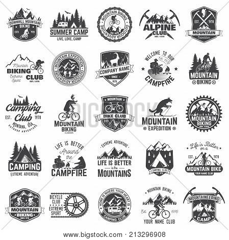 Summer camp, mountain biking, alpine club. Vector illustration. Set of vintage badges, labels, logos, silhouettes. Vintage typography collection with 25 items. Outdoors adventure emblems.