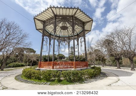 CATANIA, SICILY. April 3,2015: The Bellini Gardens is the oldest of the four main gardens of Catania. House canopy . Location: Catania, Sicily. Italy