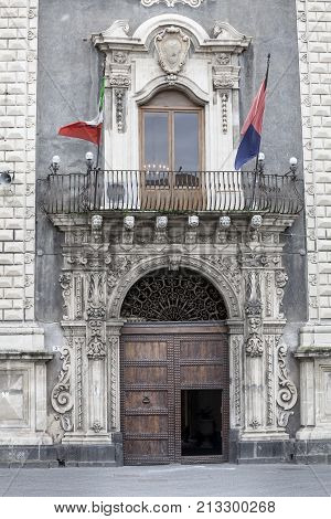 CATANIA, ITALY. April 3, 2015: Palace of the Seminary of the Clerics, Catania. Sicily, Italy. Entrance. Historic building in Piazza (square) del Duomo in Catania, Sicily in Italy.