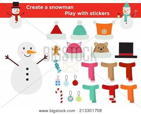 Funny game with stickers for children. Create a snowman, cute winter hats, scarfs and decoration. Vector illustration.