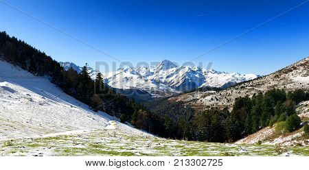 the Pic du Midi de Bigorre in the french Pyrenees with snow