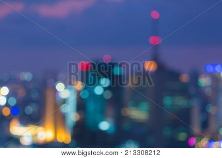 Night city bokeh blurred light downtown abstract background