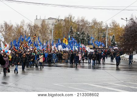 Peaceful Procession In Honor Of The Day Of The National Unity Of Russia.