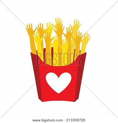 Hands like French fries. French fries in paper box isolated. Vector illustration. French fries fast food in a red package.