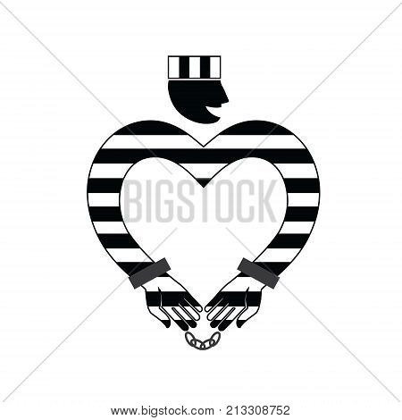 In love with a prisoner. Male prisoner icon in the shape of a heart in handcuffs