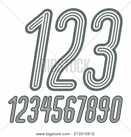 Set Of Stylish Disco Vector Digits, Modern Numerals Collection. Funky Italic Tall Numerals From 0 To