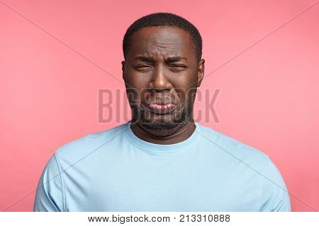 Black Man Has Sorrorful Miserable Expression Being Depressed After Fired On Work, Cries, Has Stressf