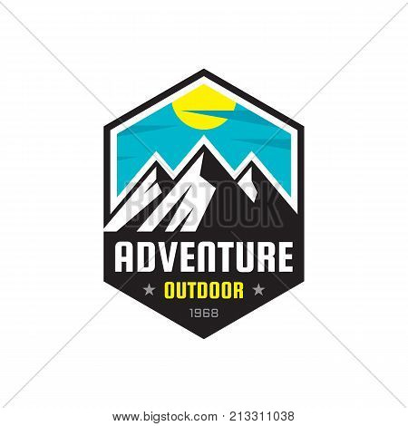 Adventure outdoor - vector logo template illustration. Mountains expedition creative badge sign. Graphic design element.