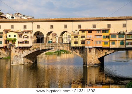 poster of The Ponte Vecchio over the river Arno on the medieval city of Florence in Italy