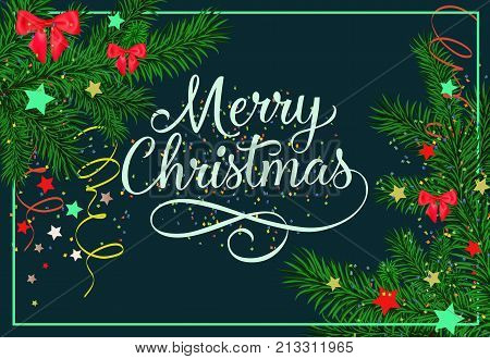Merry Christmas inscription in frame with fir sprigs, streamer and confetti on dark blue background. Can be used for postcards, festive design, posters