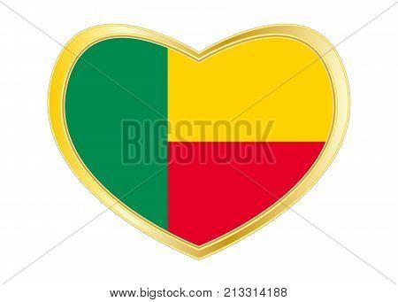 Beninese national official flag. Patriotic symbol banner element background. Correct colors. Flag of Benin in heart shape isolated on white background. Golden frame. Vector