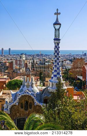 BARCELONA, SPAIN - NOV 3, 2017: Gaudi architecture in park Guell.
