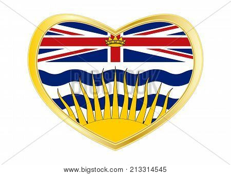 Canadian provincial BC patriotic element and official symbol. Canada banner. Flag of the Canadian province of British Columbia in heart shape isolated on white background. Golden frame. Vector