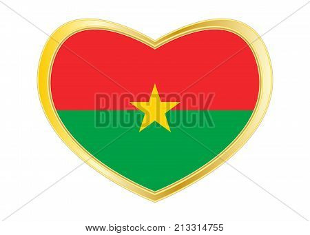 Burkina Faso national official flag. African patriotic symbol banner element background. Correct colors. Flag of Burkina Faso in heart shape isolated on white background. Golden frame. Vector