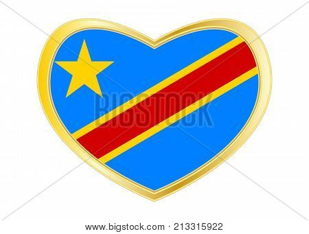 DR Congo national official flag. African patriotic symbol banner element. Correct colors. Flag of Democratic Republic of the Congo in heart shape isolated on white background. Golden frame. Vector