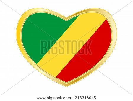 Congo Republic national official flag. African patriotic symbol banner element. Correct colors. Flag of Republic of the Congo in heart shape isolated on white background. Golden frame. Vector