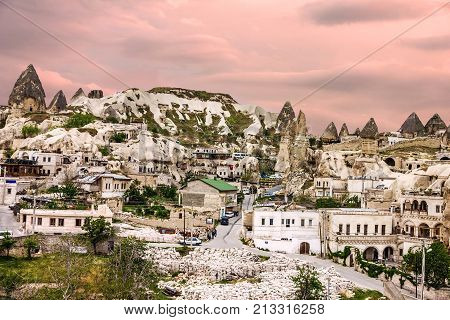 Goreme Cave Town Cappadocia, Anatolia, Turkey. Volcanic Mountains In Goreme National Park.