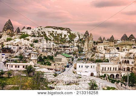 Goreme Cave Town Cappadocia, Anatolia, Turkey. Volcanic Mountains In Goreme National Park.