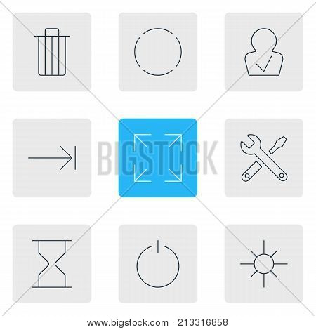 Editable Pack Of Switch Off, Hourglass, Repeat And Other Elements.  Vector Illustration Of 9 User Outline Icons. poster