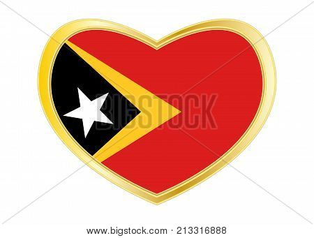 East Timorese national official flag. Patriotic symbol banner element background. Correct colors. Flag of East Timor in heart shape isolated on white background. Golden frame. Vector