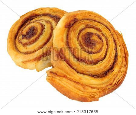Cinnamon sweet pastry rolls isolated on a white background