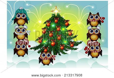 Seven Lovely Brown Owls In Caps, Scarves, Warm Headphones Around The Decorated With Balls And The Li