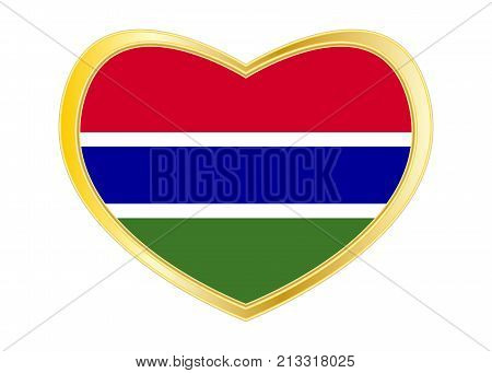 Gambian national official flag. African patriotic symbol banner element background. Correct colors. Flag of the Gambia in heart shape isolated on white background. Golden frame. Vector