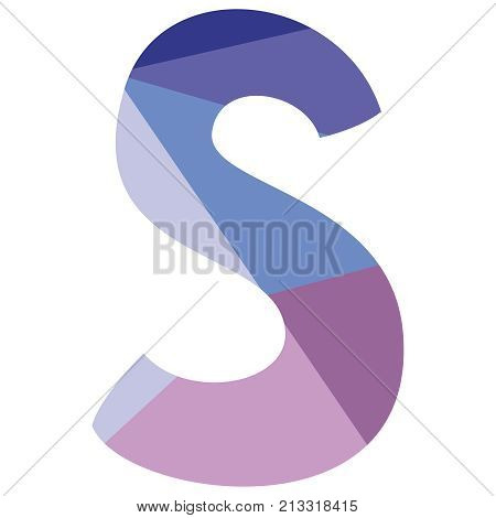 S vector low poly wrapping surface pastel alphabet letter isolated on white background