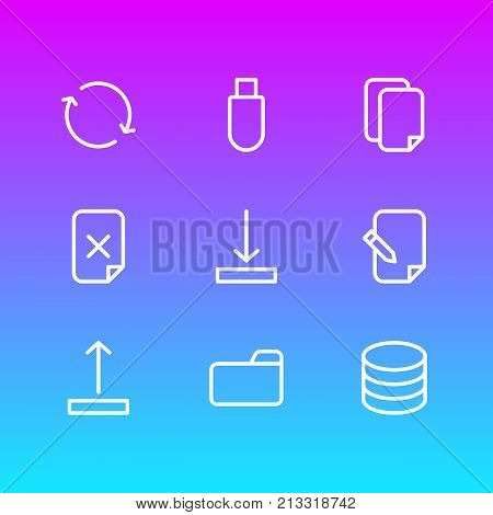 Editable Pack Of Dossier, Arrow Up, Synchronize And Other Elements.  Vector Illustration Of 9 Memory Outline Icons.