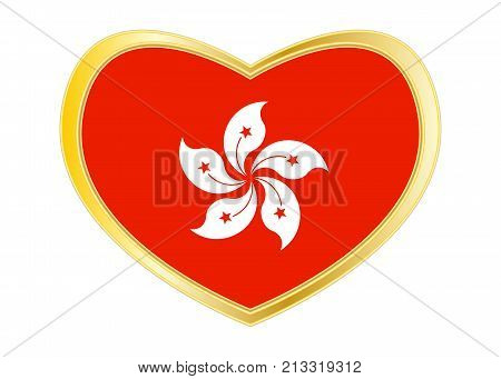 Hong Kongese official flag. Patriotic chinese symbol banner. Hong Kong is special region of PRC. Correct colors. Flag of Hong Kong in heart shape isolated on white background. Golden frame. Vector