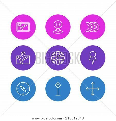 Editable Pack Of Pin, Compass, Direction And Other Elements.  Vector Illustration Of 9 Direction Outline Icons.