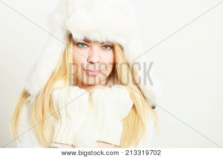 Woman Wearing Fashionable Wintertime Clothes