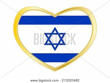 Israeli national official flag. Patriotic symbol banner element background. Correct colors. Flag of Israel in heart shape isolated on white background. Golden frame. Vector