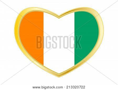 Cote D Ivoire national official flag. African patriotic symbol banner element background. Correct colors. Flag of Ivory Coast in heart shape isolated on white background. Golden frame. Vector