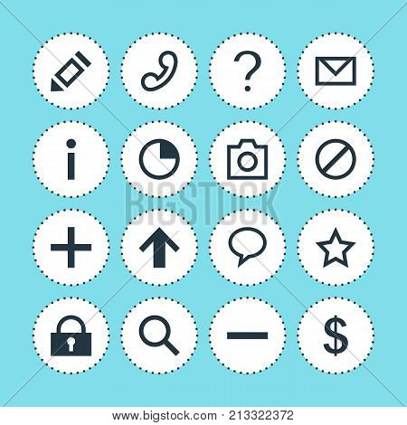 Editable Pack Of Top, Stopwatch, Letter And Other Elements.  Vector Illustration Of 16 Member Icons.
