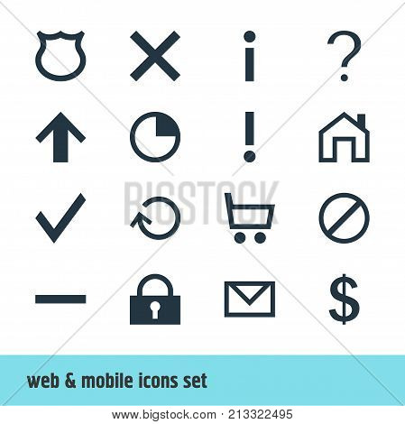 Editable Pack Of Wheelbarrow, Access Denied, Renovate And Other Elements.  Vector Illustration Of 16 Interface Icons.