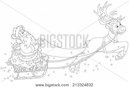 Magic reindeer flying Santa Claus with Christmas gifts in his sledge