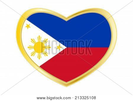 Philippine national official flag. Patriotic symbol banner element background. Correct colors. Flag of the Philippines in heart shape isolated on white background. Golden frame. Vector
