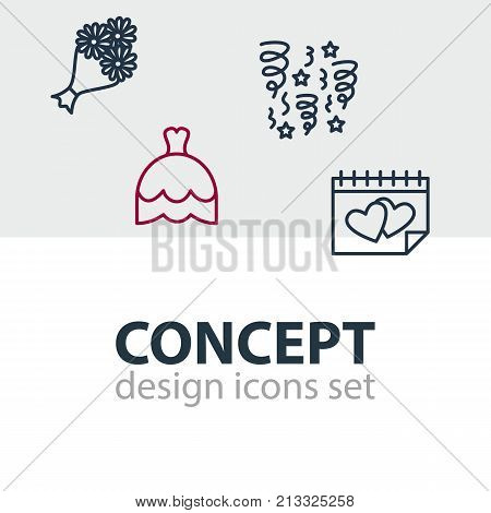 Editable Pack Of Wedding Gown, Calendar, Bridal Bouquet And Other Elements.  Vector Illustration Of 4 Engagement Outline Icons.