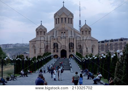 Yerevan Armenia September 16 2017: The Saint Gregory of the Illuminator Cathedral in Yerevan Armenia
