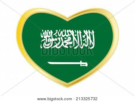 Saudi Arabian national official flag. Patriotic symbol banner element background. Correct colors. Flag of Saudi Arabia in heart shape isolated on white background. Golden frame. Vector