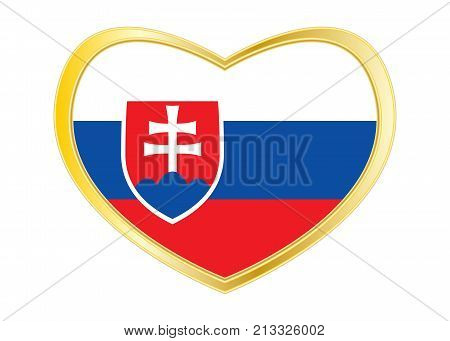 Slovakian national official flag. Patriotic symbol banner element background. Correct colors. Flag of Slovakia in heart shape isolated on white background. Golden frame. Vector