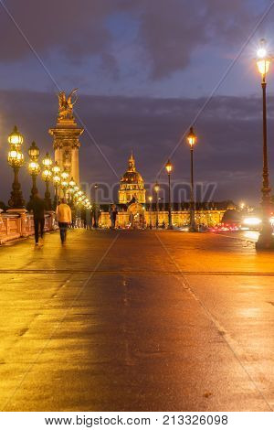 Alexandre III Bridge at violet twilights with glowing lampposts, Paris, France