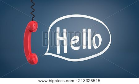 3d rendering of a red retro phone receiver hangs down from a cable near a speech bubble with a word Hello inside it. Business communications. Call center. Support and service number.