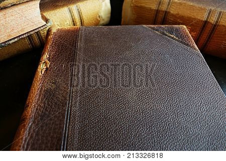 Blank cover of an old leather bound book