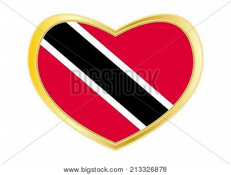 Trinidadian and Tobagonian national official flag. Patriotic symbol banner element. Correct colors. Flag of Trinidad and Tobago in heart shape isolated on white background. Golden frame. Vector