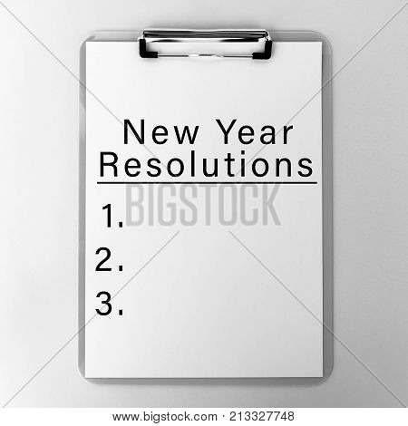 New Year's Resolution List on Clipboard - New Life Concept