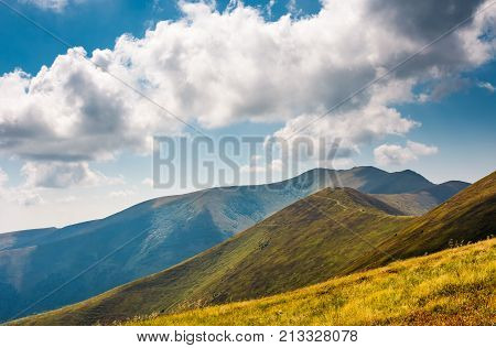 Rolling Hills Of Borzhava Mountain Ridge In Summer